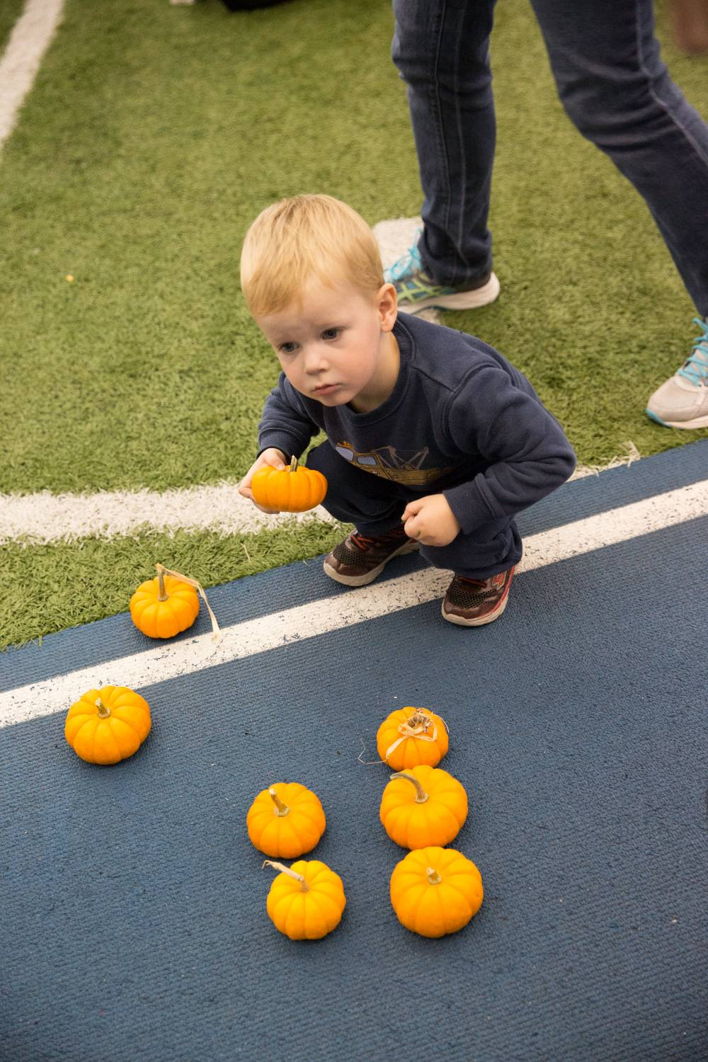 Little Laker poses with pumpkins